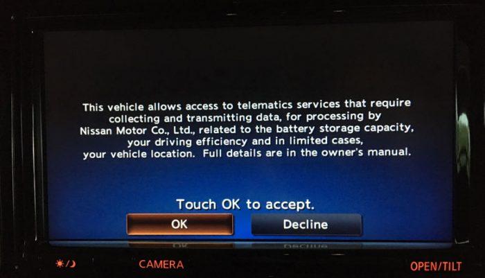 Nissan Leaftelematics screen